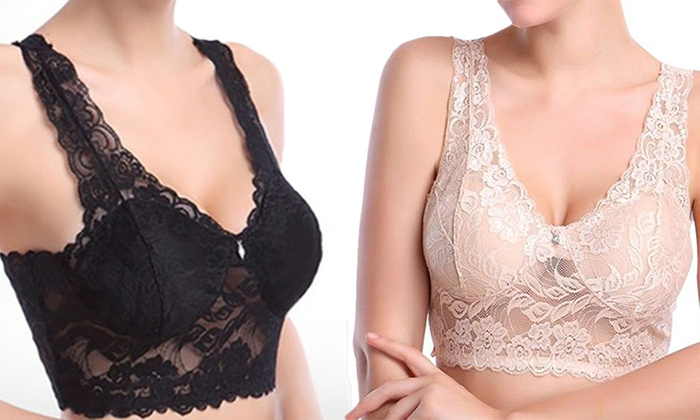 Two or Four Lace Comfort Wireless Bralettes in Black and Nude from £9.98