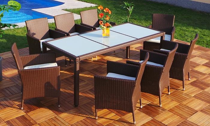 ensemble table rotin et verre groupon shopping. Black Bedroom Furniture Sets. Home Design Ideas