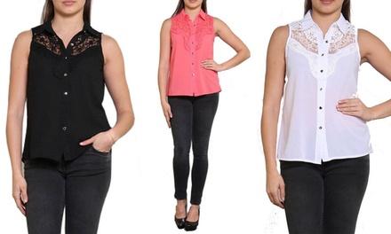 1 of 2 blousen met kant zonder mouwen in kleur naar keuze vanaf € 16,99