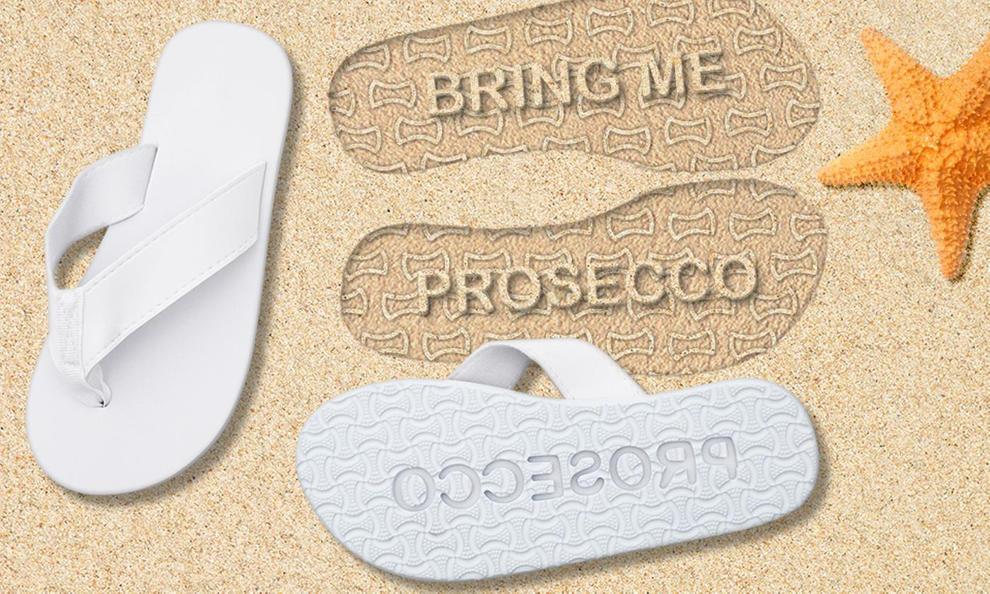 One or Two Pairs of Bring Me Prosecco Flip Flops