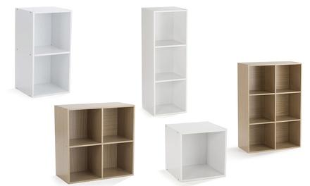 Cubes de rangements, 1 à 6 cases, en Blanc ou en Chêne