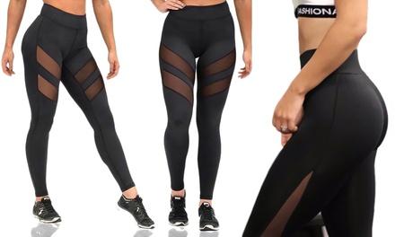 1 ou 2 élégants leggings avec bandes en maille, 2 modèles et taille au choix, dès 14,99€
