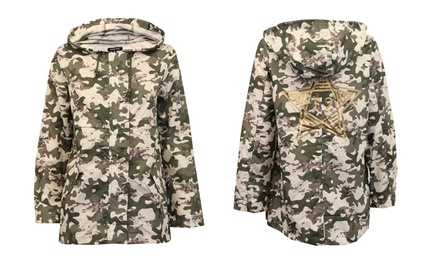 Brave Soul Women's Camouflage Hooded Jacket for £16.99