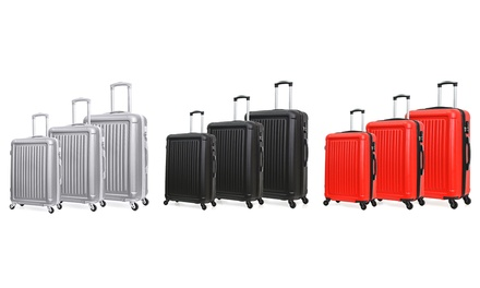 Set 3 valises rigides en ABS robustes et légères 4 roues 360°