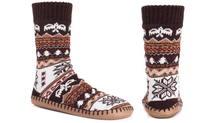 e9aa8a2f03358 MUK LUKS Men's Slipper Socks (Size L/XL)