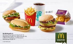 McDonald's Nürnberg: Wertgutschein über 7 €, 10 € oder 14 € anrechenbar auf das gesamte Sortiment in einer McDonald's Filiale nach Wahl