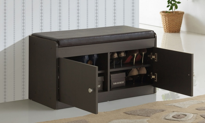 Baxton Studio Modern Wood Bench With Shoe Cabinet ...