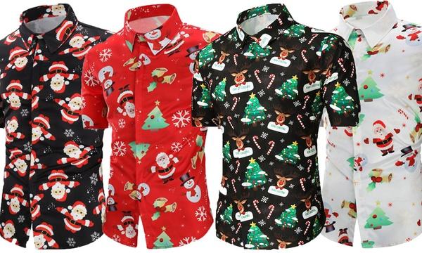 Up To 64% Off Men's Collared Christmas Shirt   Groupon