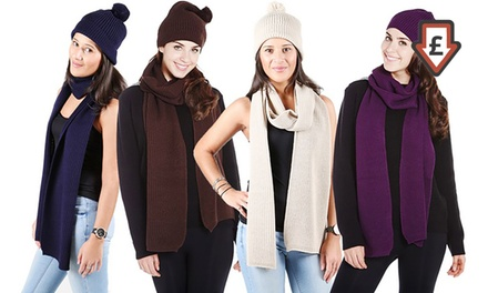 One £4.99 or Two £7.99 Plain Knitted Hat and Scarf Sets