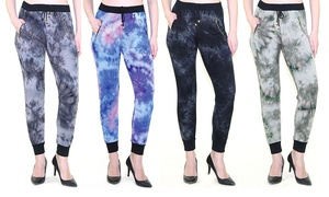 Indero Women's Tie-Dye Joggers. Junior and Plus Sizes Available.