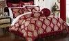 Salvi Jacquard Scroll Faux Silk Bedding Comforter Set (9- or 13-Piece)