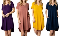 Acting Pro Women's V-Neck Dress with Side Pockets. Plus Sizes Available.
