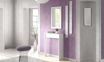 Set halmeubels met dressoir, spiegel en kapstok