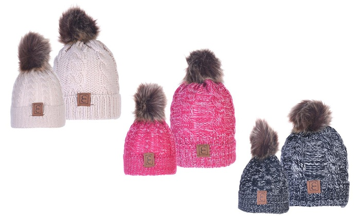 1d4c9eec Up To 75% Off on Mom And Baby Pom-Pom Beanie Set | Groupon Goods