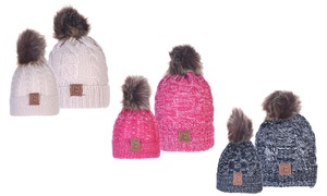 CC Chic Mom And Baby Pom-Pom Beanie Set
