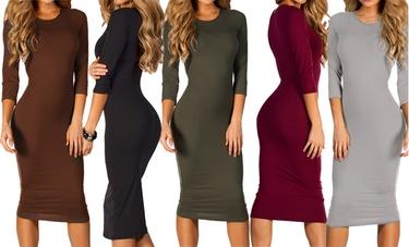 Women's 3/4-Sleeve Midi Dress