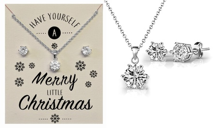 Zircondia 2ct Round or Square Crystal Solitaire Sets with Christmas Message