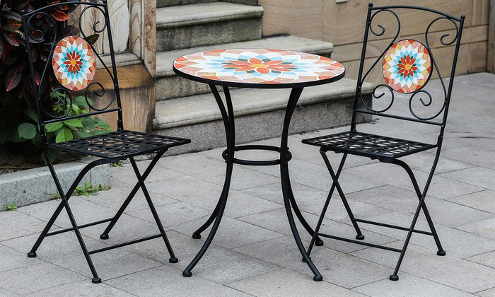 Winsome house mosaic patio bistro furniture set 3 piece groupon winsome house mosaic patio bistro furniture set 3 piece watchthetrailerfo