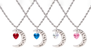 Love You To The Moon Necklace with Crystals From Swarovski by Pink Box