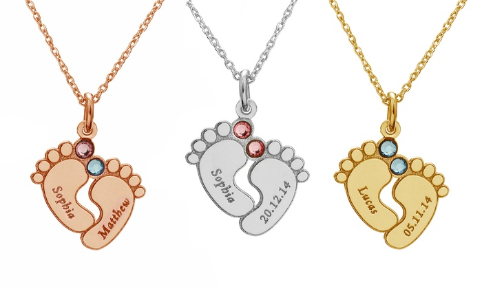 SilvexCraft Design: Custom Engraved Baby Feet Necklaces from SilvexCraft Design (Up to 81% Off)