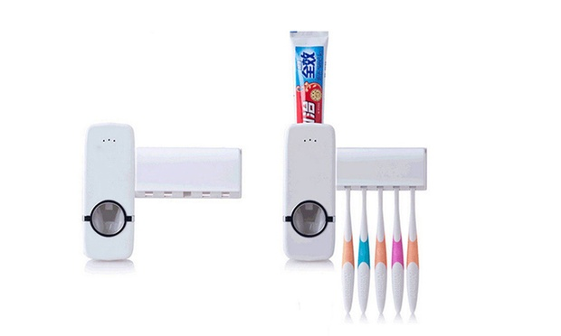 Wall Mounted Rack Automatic Toothpaste Dispenser and Brush Holder: One ($14) or Two ($19)