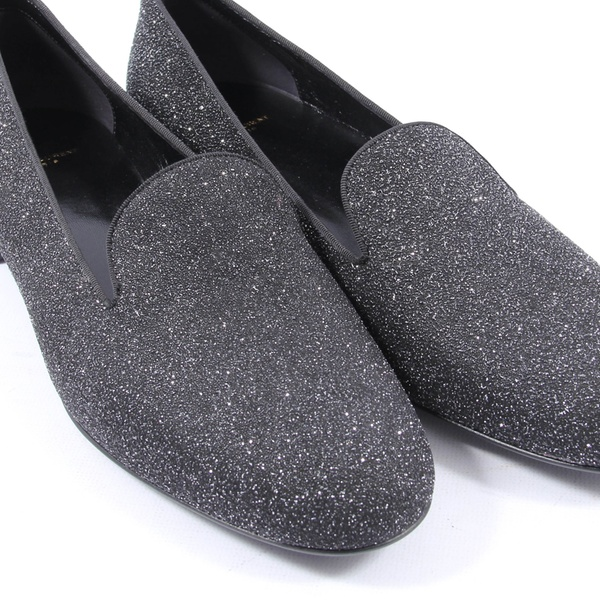 5ab7fdb9a1 YSL Women's Black and Silver Glitter Smoking Slippers