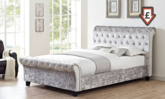 Cavandish Crushed Velvet Sleigh Bed with Option for Mattress With Free Delivery From £229