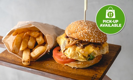 $13 for Takeaway Brunch with Coffee: Burger & Chips, or Bao Bao Bao at Gardenia Cafe (Up to $23.50 Value)
