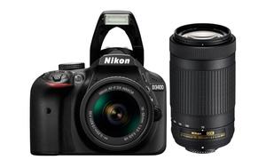 Nikon D3400 24.2MP DSLR Camera & Two Lenses (Manufacturer Refurbished)