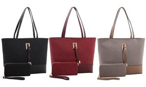 Nora Suede Tote Handbag and Wallet Set at Nora Suede Tote Handbag and Wallet Set, plus 6.0% Cash Back from Ebates.