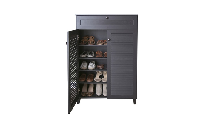 Baxton Studio Wood Louvered Door Shoe Storage Cabinet ...
