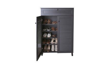 Baxton Studio Wood Louvered-Door Shoe-Storage Cabinet