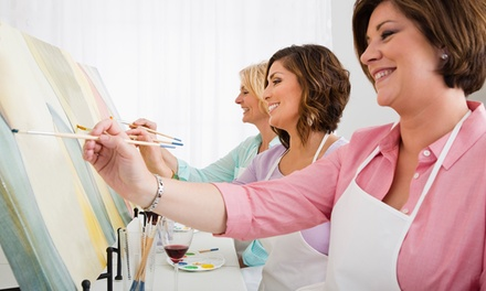 TwoHour Social Painting Class for One $29, Two $55 or Four People $99 with Paint Along Up to $195 Value