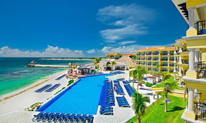 3 4 6 Or 7 Night All Inclusive Hotel Marina El Cid Spa Beach Resort Trip With Nonstop Air From Vacation Express In Puerto Morelos Groupon Getaways