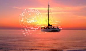 """Levantin Catamarans: Croisière dîner au couchant """"Sunset Dinner"""" de 3h pour 1 ou 2 personnes dès 34,90 € avec Levant'in Catamarans"""