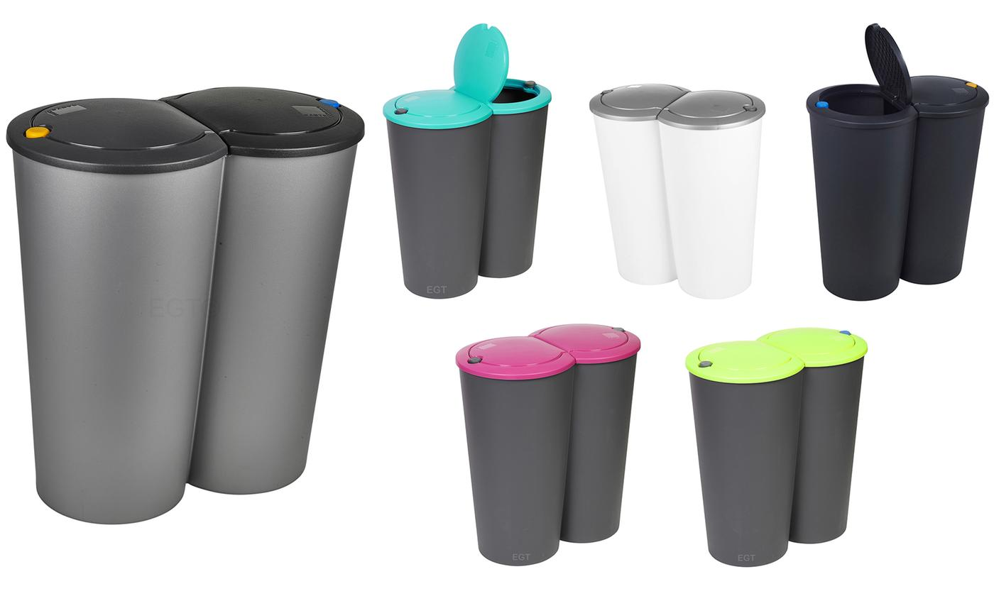 One or Two Circular Double Recycling Waste Bins