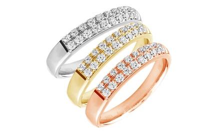 Anillo con dos filas adornado con diamantes 0,06 ct. por 119,90 € con envío gratuito