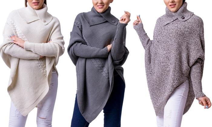 poncho d 39 hiver pour femme groupon shopping. Black Bedroom Furniture Sets. Home Design Ideas