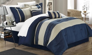 Carly Embroidered Color-Block Comforter Set (10-Piece)