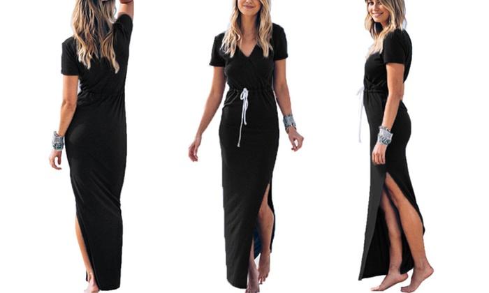 Cotton black maxi dress