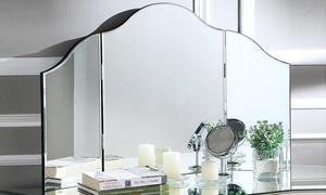 Hannah Frameless Tri-Fold Tabletop Vanity Mirror