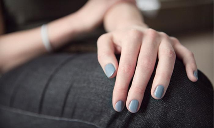 Discovered Treasure Nail Spa - Discovered Treasure Nail Spa: Shellac Manicure, or Spa Pedicure with Foot and Leg Sugar-Scrub Massage at Discovered Treasure Nail Spa (Up to 58% Off)