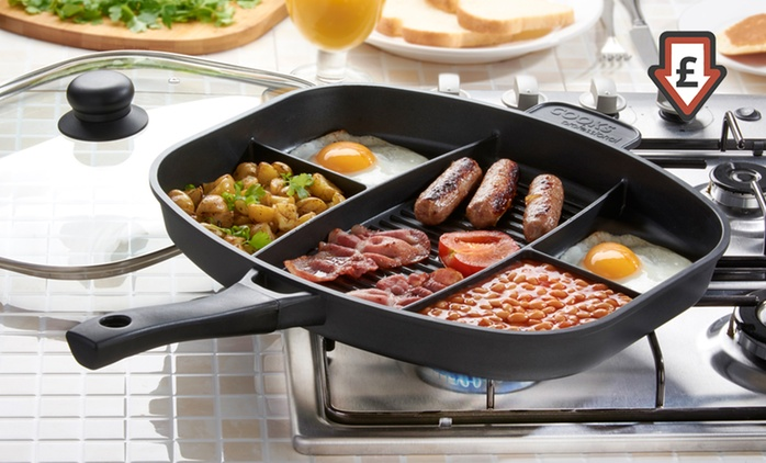 Cooks Professional Split-Section Frying Pan with an Optional Lid and Induction Base