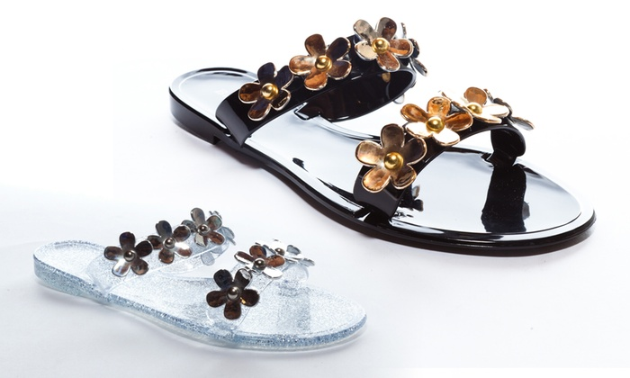 Bamboo Floral Jelly Sandals