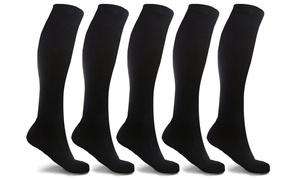 XTF Unisex Knee-Length Compression Socks (5 Pairs)