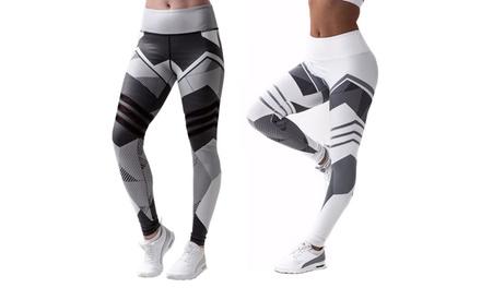 1 ou 2 paires de leggings de sport imprimés avec motifs géométriques, pour les femmes