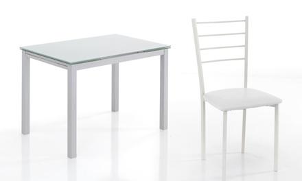 Tavolo Allungabile E 4 Sedie.Tavolo Allungabile Bianco Con Piano In Vetro Temprato E 4