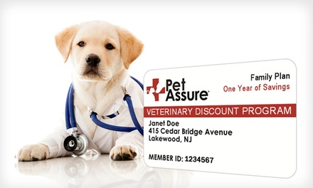 One-Year Single Cat, Single Dog, or Household Veterinary Discount Plan from Pet Assure (Up to 73% Off). Free Shipping.
