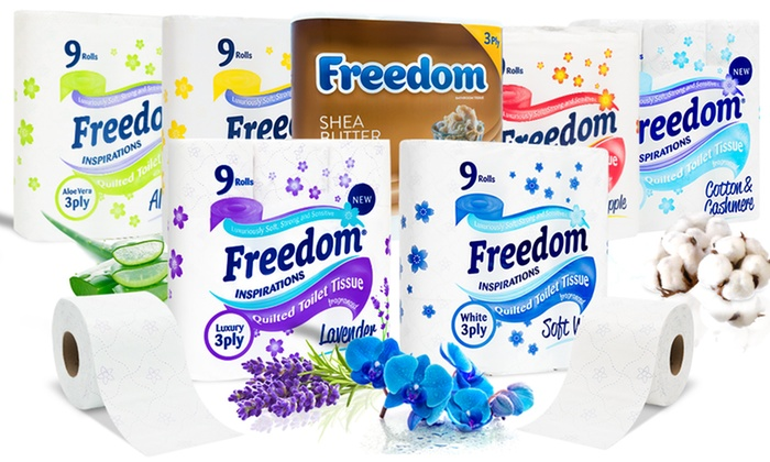 45, 90 or 135 Freedom Quilted Three-Ply Toilet Paper Household Rolls in Choice of Scent