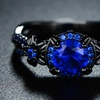 2.08 CTTW Black Rhodium Plated Sapphire Spinel Floral Ring